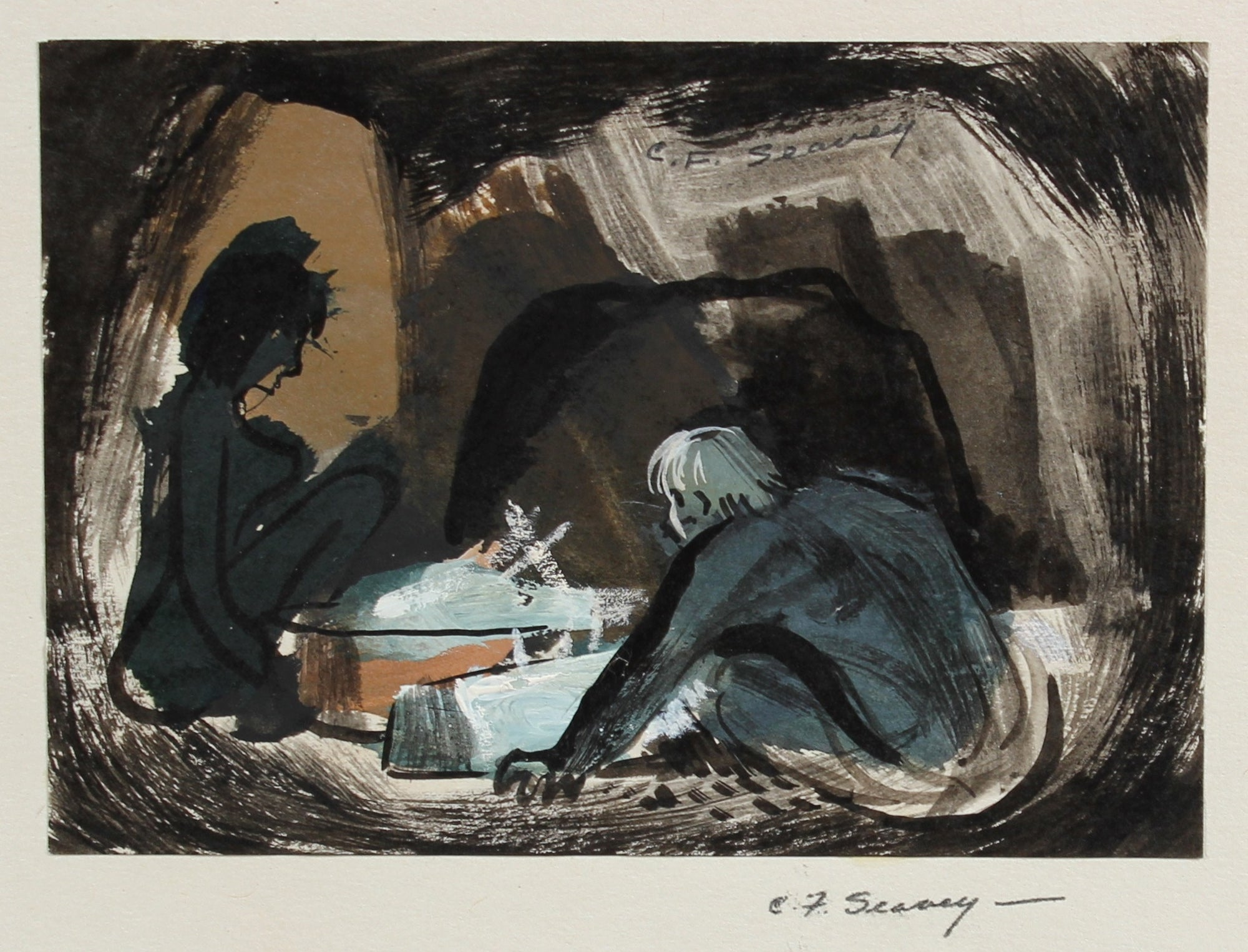 Petit Muted Interior Figurative Scene <br>1946 Gouache & Ink <br><br>#3437