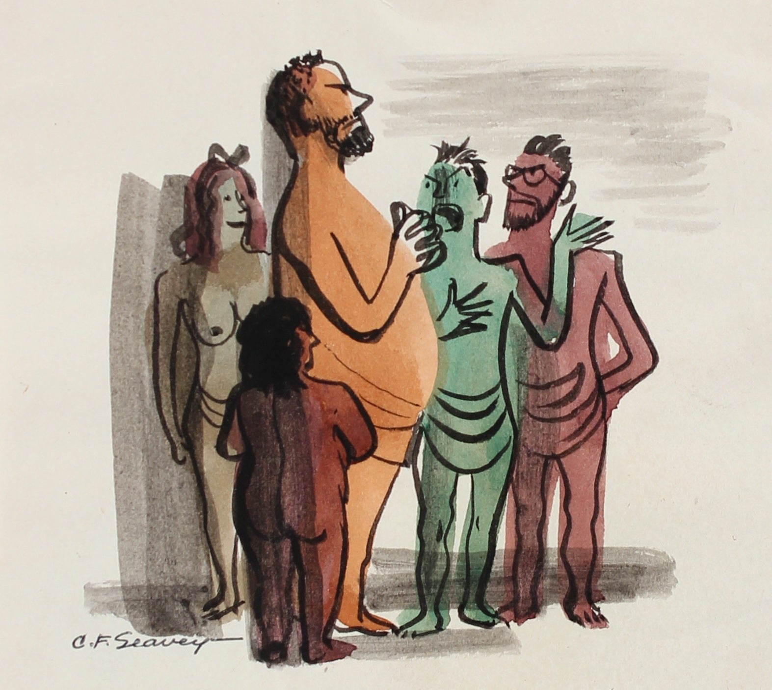 Petit Gathering of Colorful Figures <br>1946 Gouache <br><br>#3439