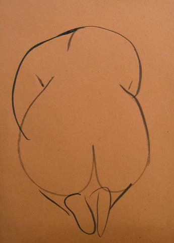 Nude Study From Behind<br>1930-50s Pen & Ink<br><br>#16021