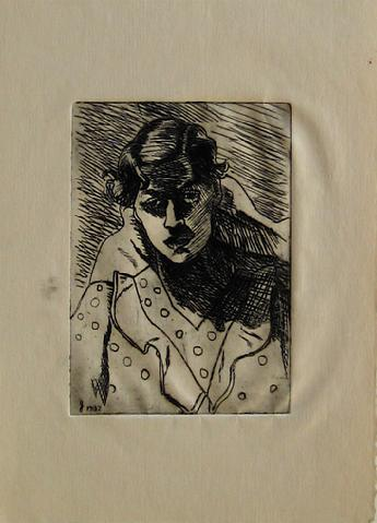 <i>Self Portrait</i><br>1930-50s Etching<br><br>#16056