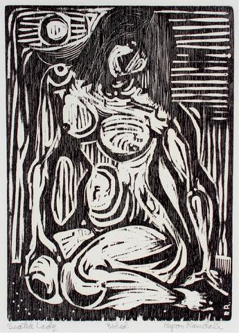 <i>Seated Lady</i><br>Woodcut, 1960-62<br><br>#30957
