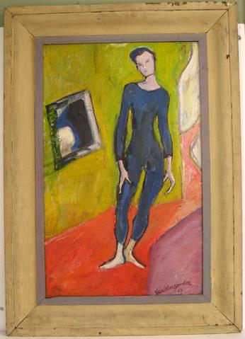 Standing Figure in Blue<br>1940-50s Oil<br><br>#4928