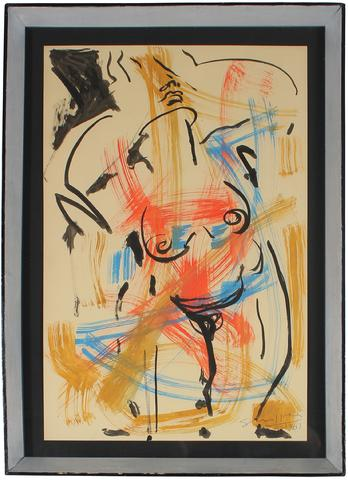 Red & Blue Expressionist Nude<br>1961 Gouache<br><br>#51836
