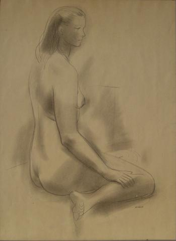 Seated Female Nude<br>1930-60s Graphite Sketch<br><br>#13386