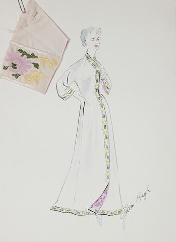 Fitted Caftan Dress in Pale Colors<br> Gouache & Ink Fashion Illustration<br><br>#26176