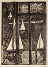 Ships in the Harbor<br>Mid Century Woodcut<br><br>#82329