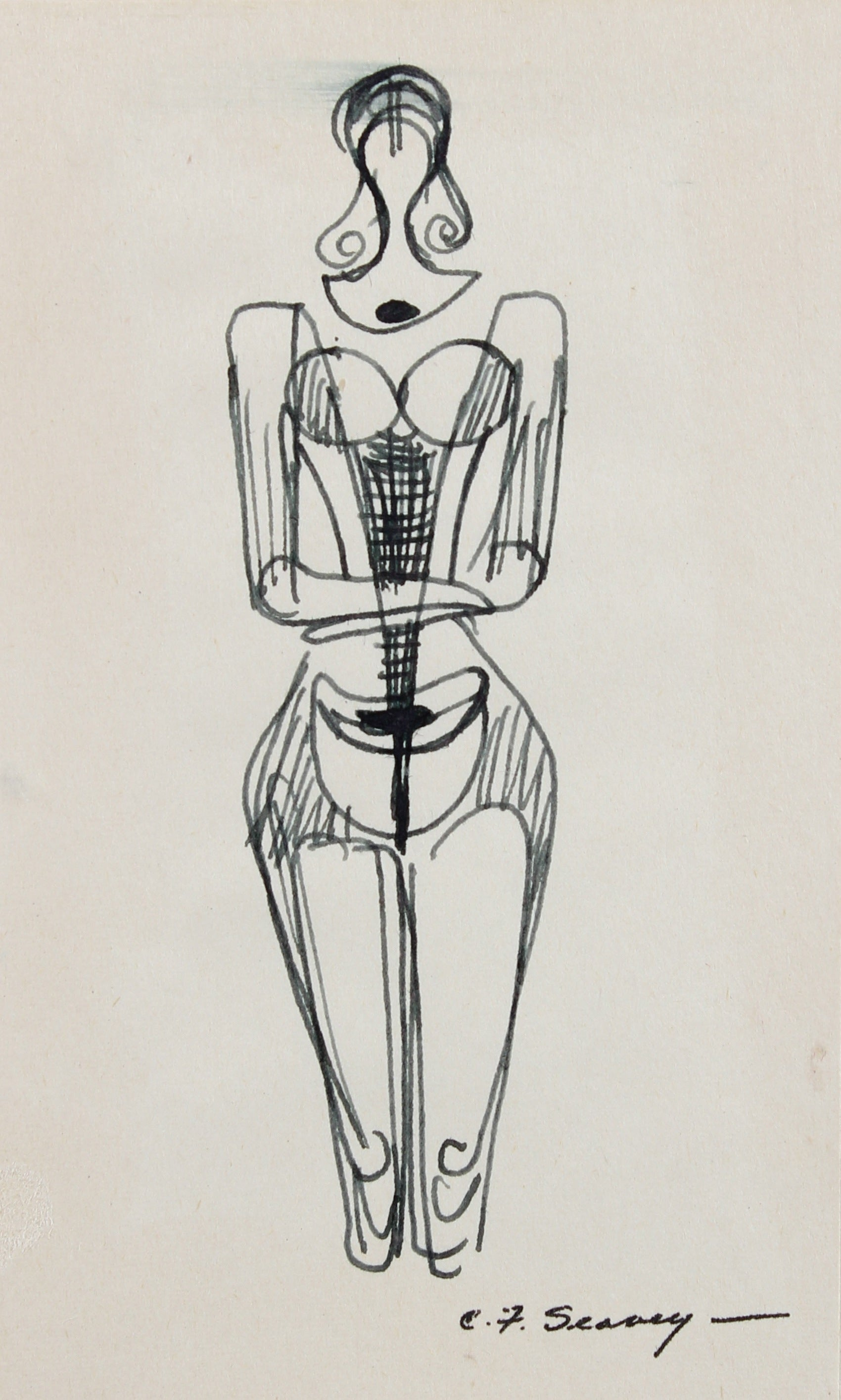 Petite Monochromatic Deconstructed Figure <br>1952 Ink <br><br>#3502