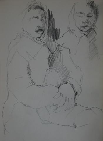 Sketch of a Couple<br>Graphite, 1950-60s<br><br>#0232