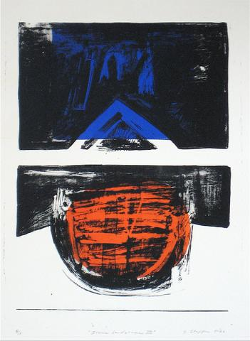 <i>Iconic Landscape III</i><br>1966 Collograph<br><br>#12008