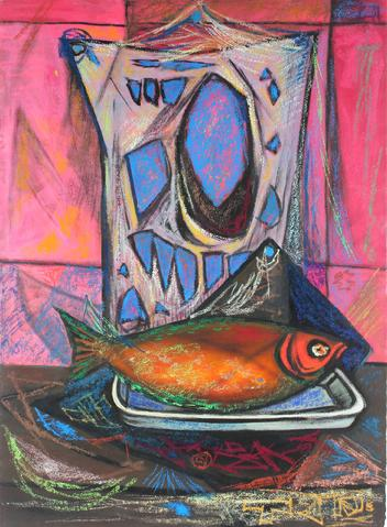 <i>Smoked White Fish</i><br>1956 Casein & Oil Pastel<br><br>#33306