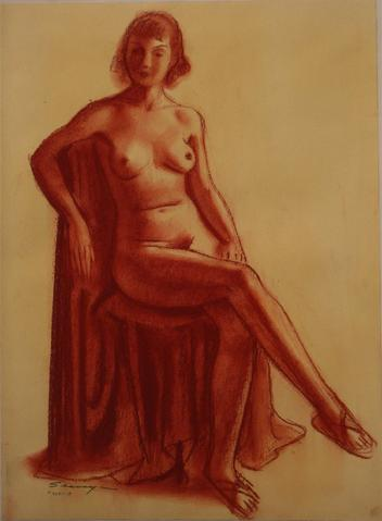Modernist Seated Nude in Red<br>1920-30s Conte Crayon on Paper<br><br>#9417