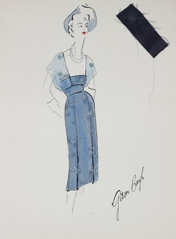 Vintage Sheath Dress in Blue<br> Gouache & Ink Fashion Illustration<br><br>#26161