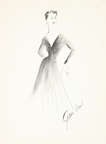 Elegant Black Draped Collar Dress<br> Gouache & Ink Fashion Illustration<br><br>#26597