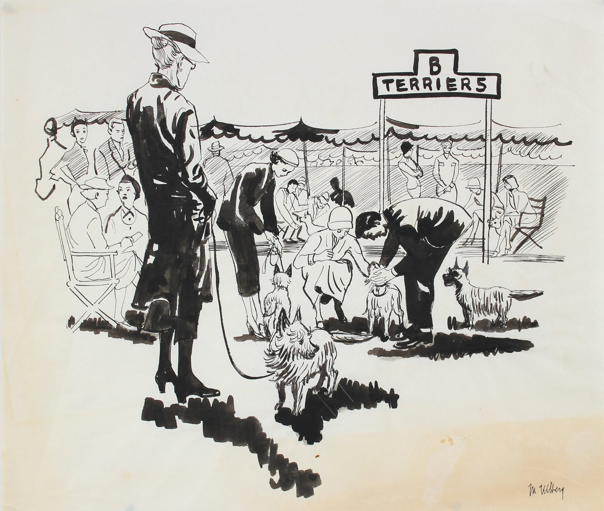 At the Dog Show<br>Ink, Mid Century<br><br>#3555