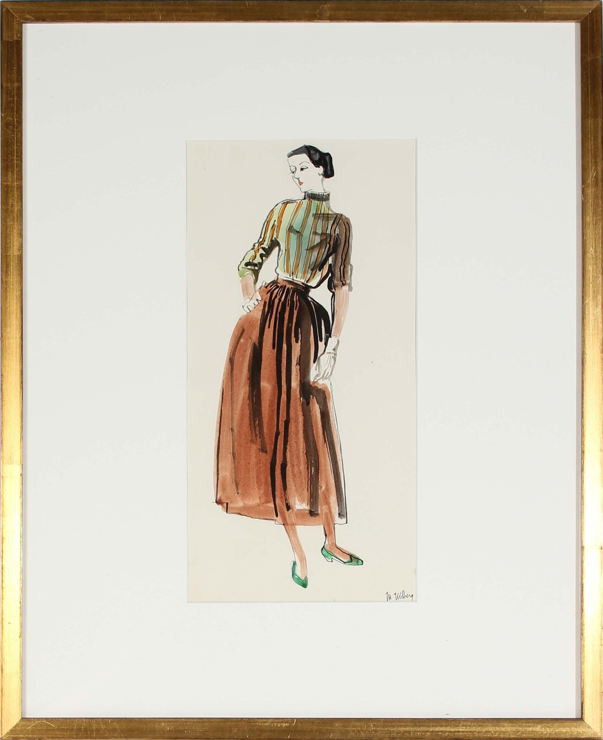 Elegant Fashion Pose<br>Watercolor, 1946-54<br><br>#3571