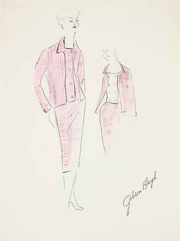 Matching Pink Suit<br> Gouache & Ink Fashion Illustration<br><br>#26540