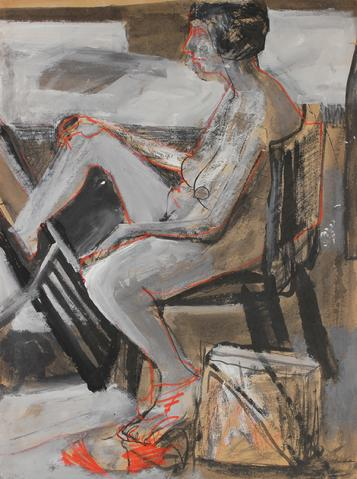 Expressionist Seated Figure<br>1960-70s Charcoal, Ink & Gouache<br><br>#88940