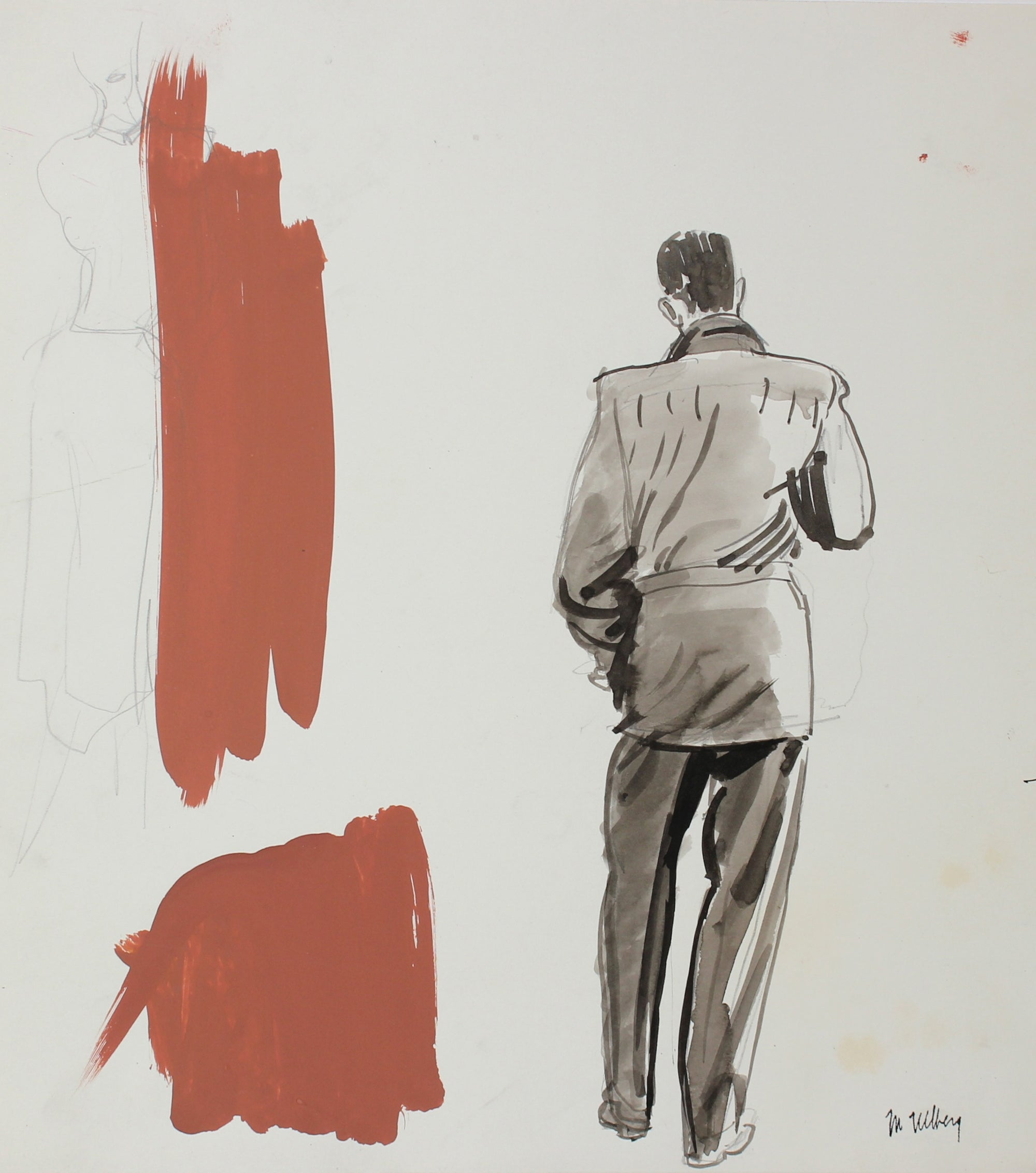 Men's Fashion Sketch<br>Watercolor, 1946-54<br><br>#3582