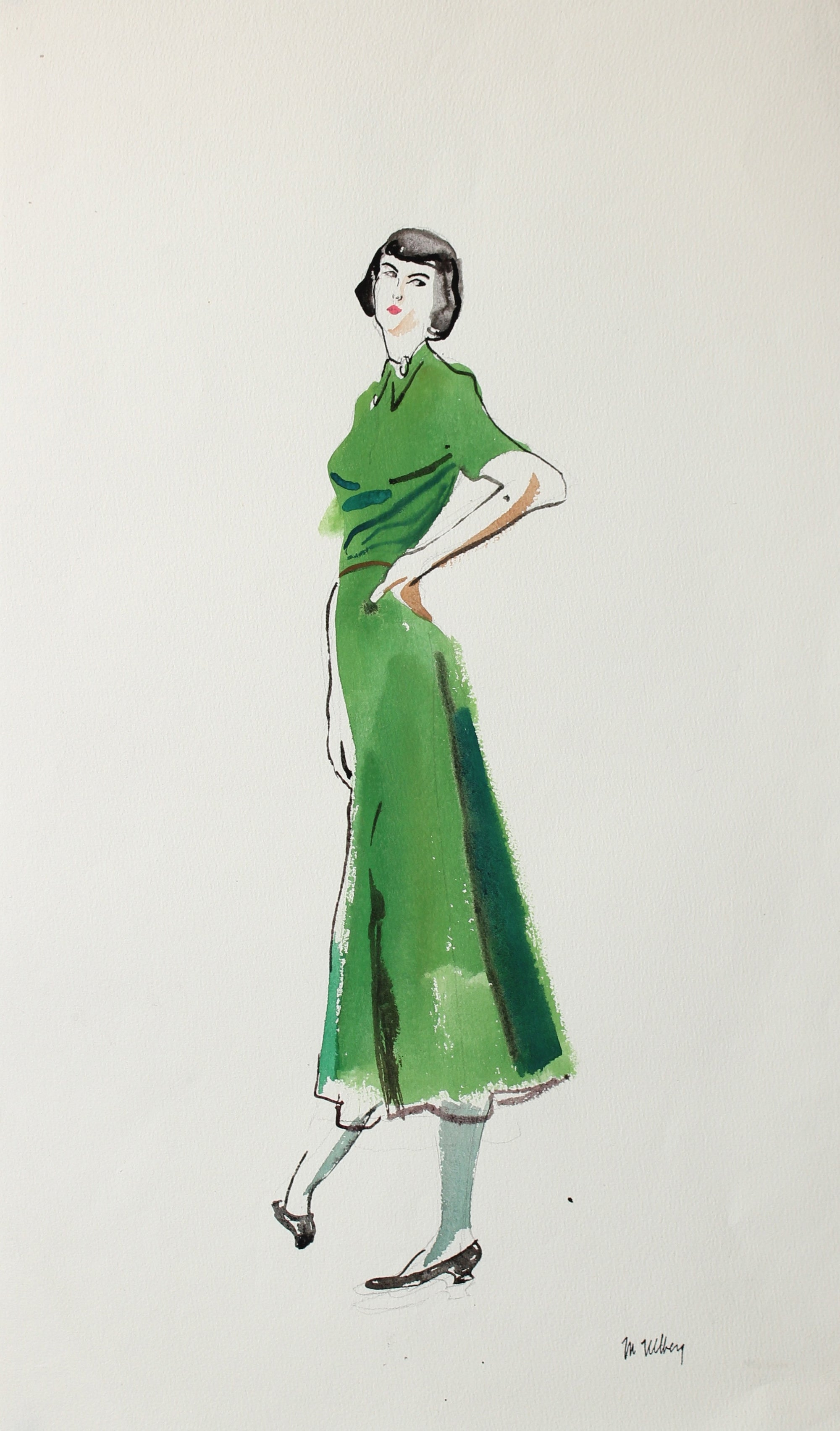 Green Dress, Fashion Study<br>Watercolor, 1946-54<br><br>#3584