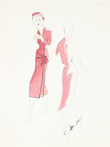Red Pencil Dress with Bowed Waist<br> Gouache & Ink Fashion Illustration<br><br>#26524