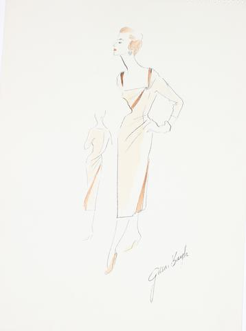 Orange Dress With A Court Neckline<br> Gouache & Ink Fashion Illustration<br><br>#26584