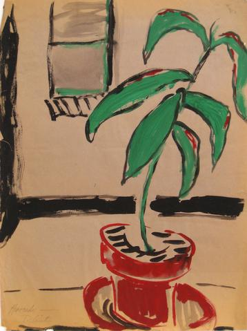 <i>Avocado Plants</i><br>Acrylic, 1940-70s<br><br>#5368