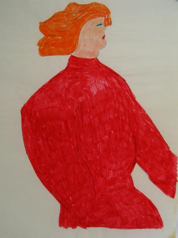 Man in a Red Sweater<br>1970s Felt Marker<br><br>#7587
