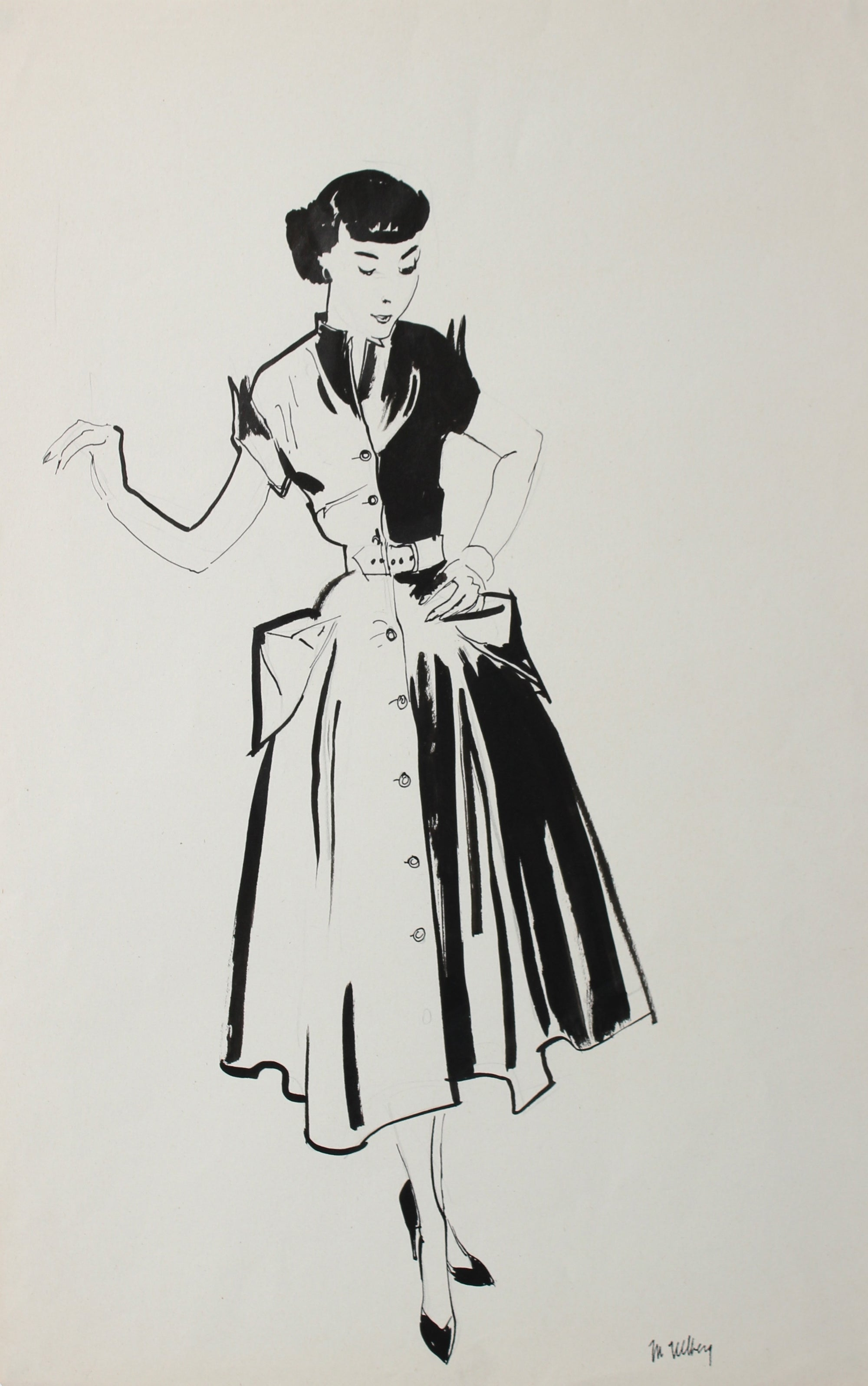 Monochromatic Fashion Illustration<br>Ink, 1940-50<br><br>#3595