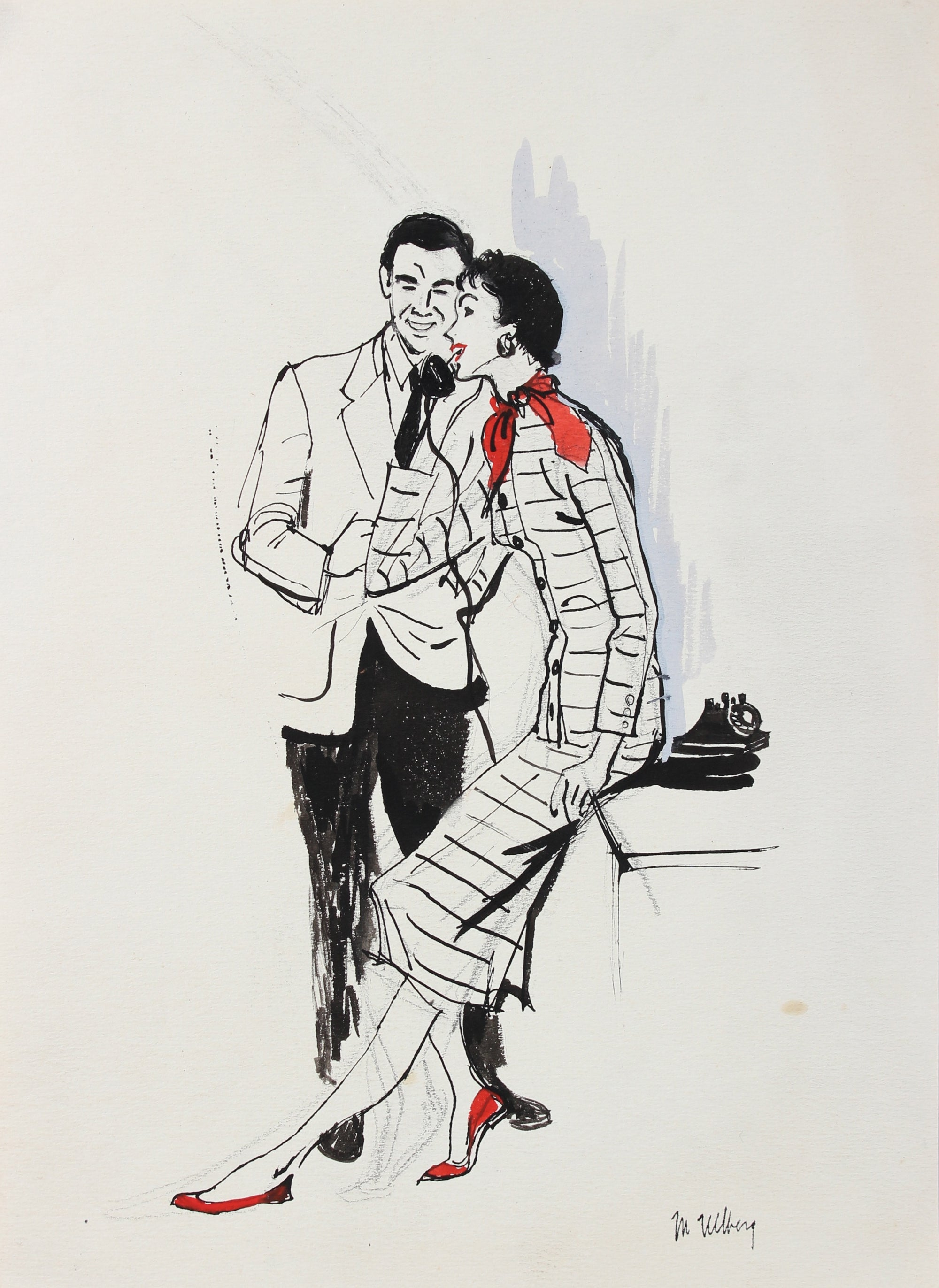 Couple at the Phone<br>Watercolor & Ink, 1940-50<br><br>#3599