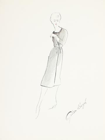 Black Sheath Dress with Tied Waist<br> Gouache & Ink Fashion Illustration<br><br>#26545