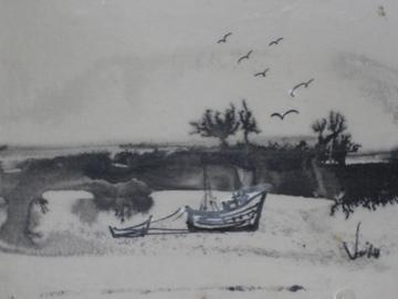 <i>Along the Coast</i><br>Mid Century Pen & Ink<br><br>#0478