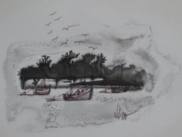 Petit Modernist Seascape<br>Pen & Ink on Paper<br><br>#0480
