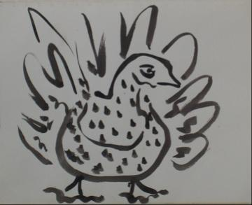 Monochromatic Drawing of A Turkey<br>1960s Ink Wash on Paper<br><br>#9984