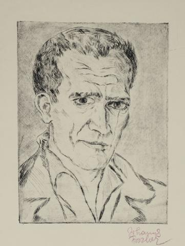 Portrait of a Man, Austrian Secession<br>1920s Etching<br><br>#60125