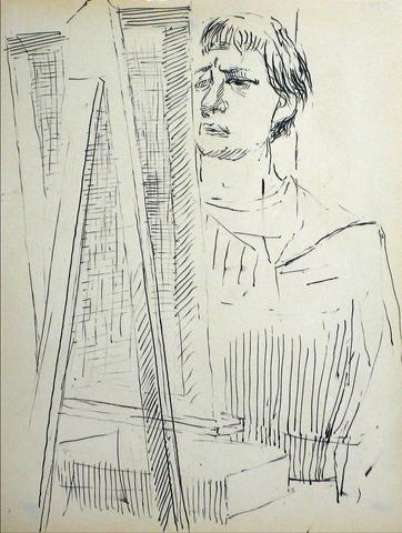 Artist at the Easel<br>Mid Century Ink on Paper<br><br>#10787