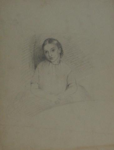 Portrait Study of a Young Girl<br>Graphite, Early-Mid 1800s<br><br>#10121