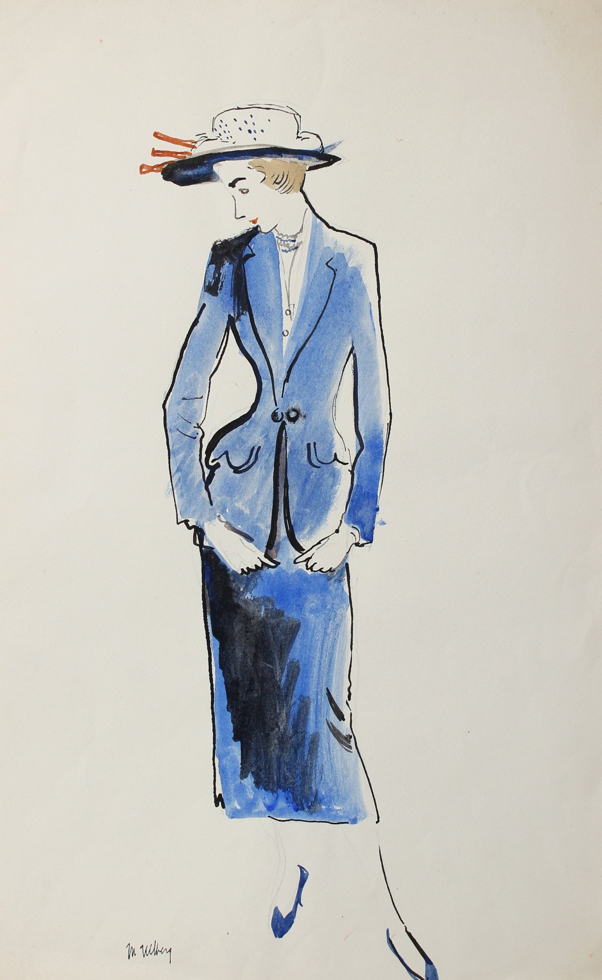 Ladies Suit & Hat, Blue<br>Mid Century Illustration<br><br>#3655
