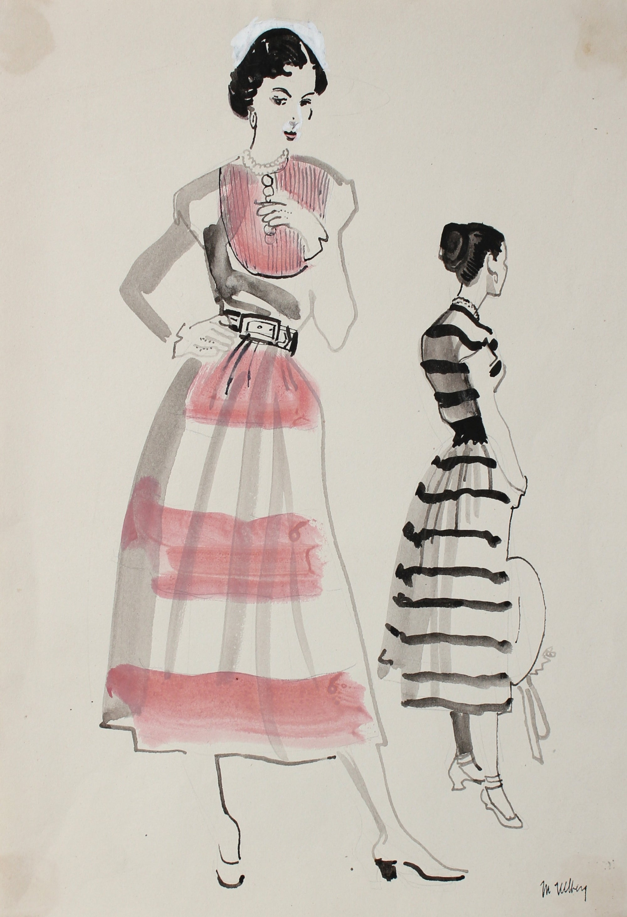 Model Pair in Stripes<br>Mixed Media, 1946-54<br><br>#3659