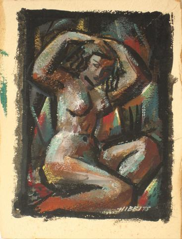 Abstract Geometric Nude<br>1930-60s Oil<br><br>#13387