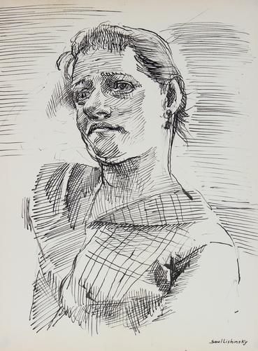 Modernist Portrait Study<br>Ink, 1940-60s<br><br>#10423