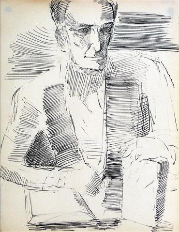 Modernist Portrait Study<br>Ink, 1940-60s<br><br>#10422