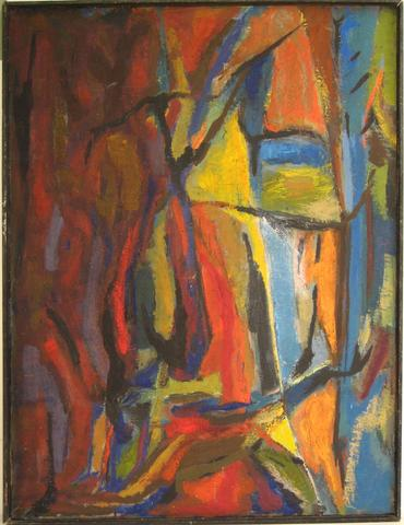 Viivd Expressionist Abstract<br>1957 Oil<br><br>#4930
