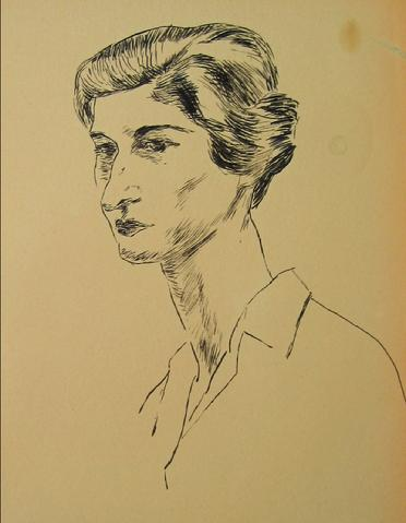 Portrait of a Woman<br>1930-50s Pen & Ink<br><br>#15965