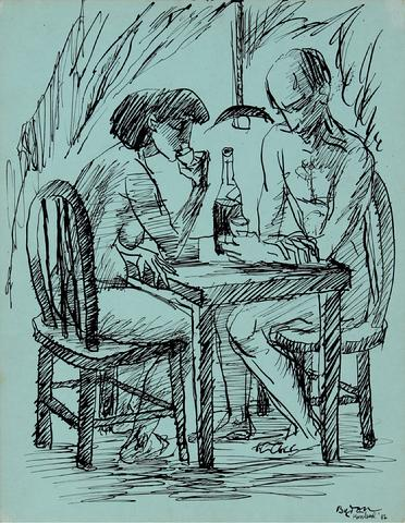 Couple Drinking<br>1956 Ink on Cardstock<br><br>#30668