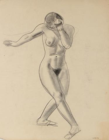 Nude Female Dancer<br>Early-Mid Century Graphite Drawing<br><br>#90748