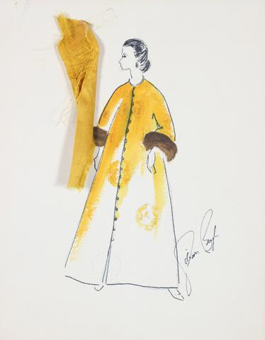 Yellow Coat With Fur Cuffs<br> Gouache & Ink Fashion Illustration<br><br>#26141
