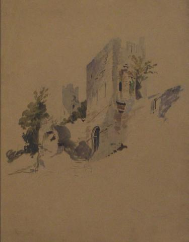 Pale Blue Castle Scene<br>Early-Mid 1800s Watercolor<br><br>#10148