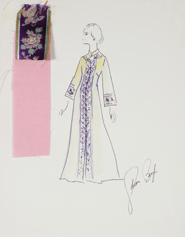 Floral Caftan in Purple<br> Gouache & Ink Fashion Illustration<br><br>#26184