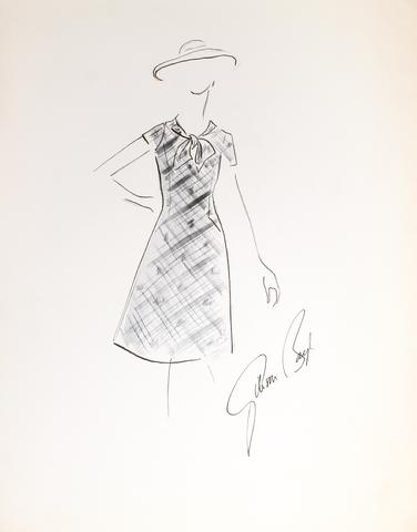 A-Line Dress with Bowed Collar<br> Gouache & Ink Fashion Illustration<br><br>#26240