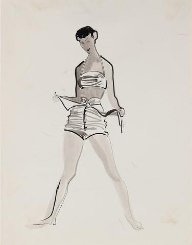 Monochromatic Fashion Illustration, 1946-54<br><br>#27188